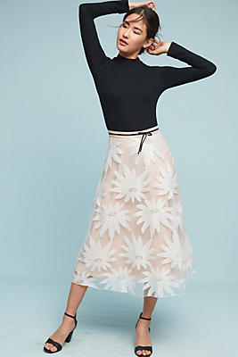 Slide View: 2: Floral Lace Midi Skirt
