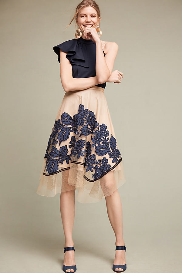 Floral Netted Skirt - Neutral Motif, Size Uk12