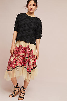 Slide View: 2: Floral Netted Skirt