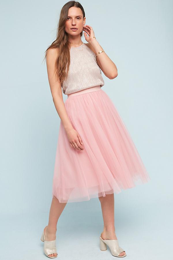 Isabella Tulle Midi Skirt - Pink, Size L