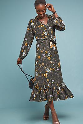 Slide View: 1: Floral Silk Skirt