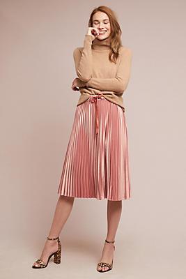 Slide View: 1: Pleated Satin Skirt