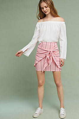 Slide View: 2: Striped Tie-Front Mini Skirt