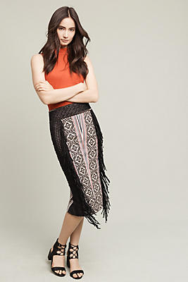 Fringe Panel Pencil Skirt