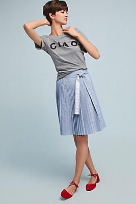 Slide View: 1: Pleated Chambray Skirt