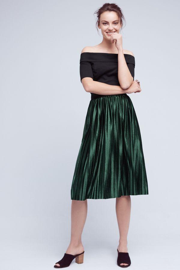 Lili's Closet Pleated Velvet Skirt