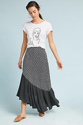 Slide View: 1: Polka Dot Flounced Skirt