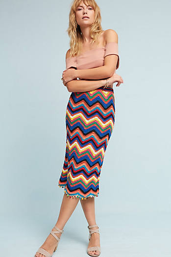 Farm Rio Chevron Knit Skirt