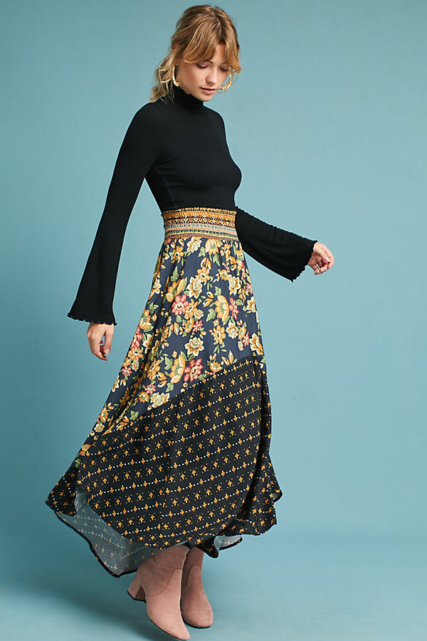Farm Rio Yolanda Maxi Skirt - Navy, Size Xl