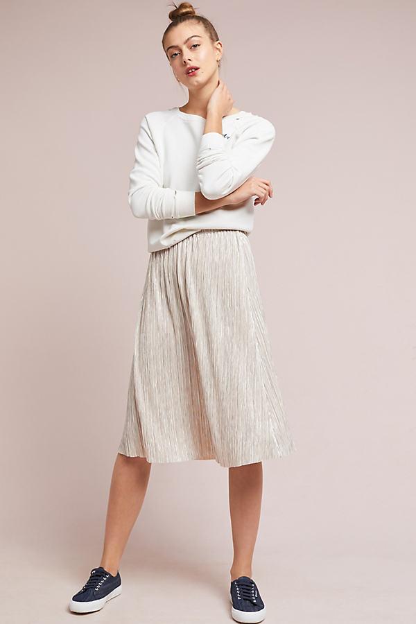 Eleonora Metallic Plisse Skirt - Pink, Size L