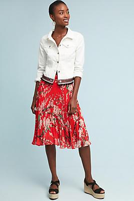 Slide View: 1: Kita Pleated Floral Skirt