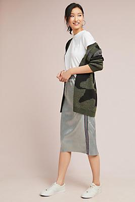 Slide View: 1: Metallic Plisse Skirt