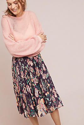 Slide View: 1: Benmore Pleated Floral Skirt