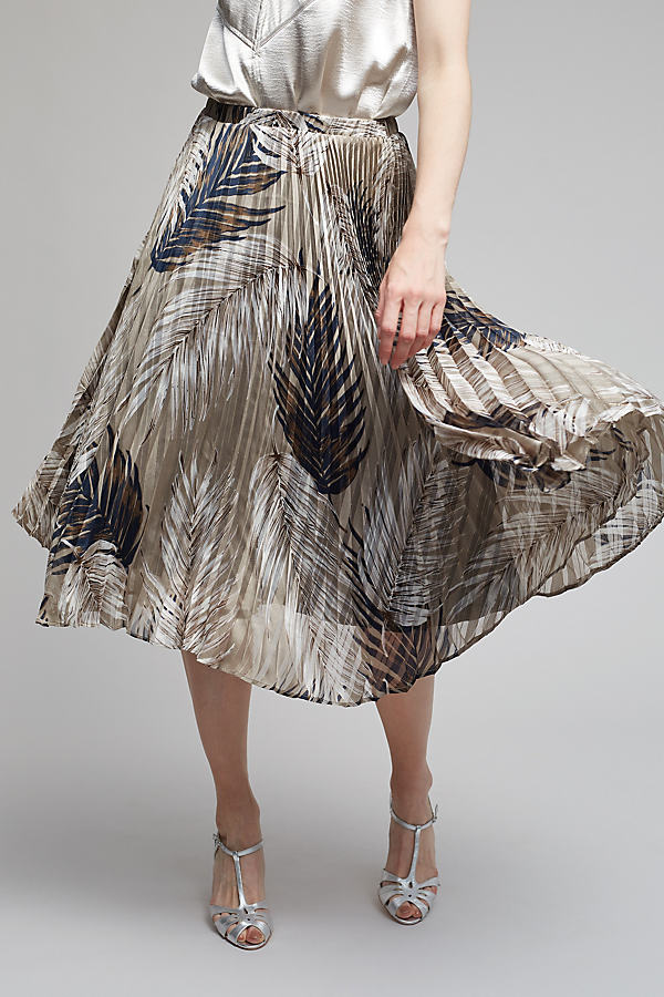 Elodie Pleated Midi Skirt - Neutral Motif, Size S