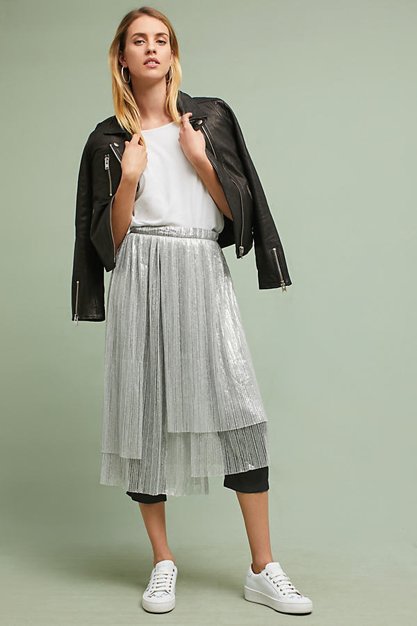 Metallic Skirted Culottes - Silver, Size Uk 6