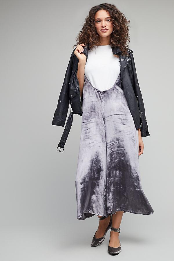Monique Velvet Pinafore Skirt - Silver, Size S