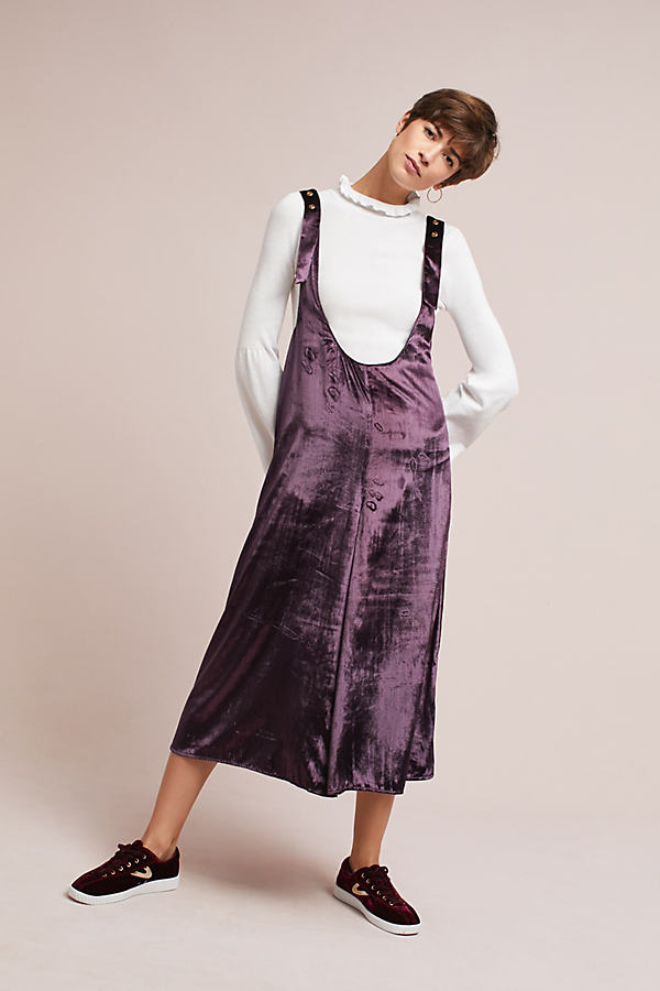 Monique Velvet Pinafore Skirt - Plum, Size L