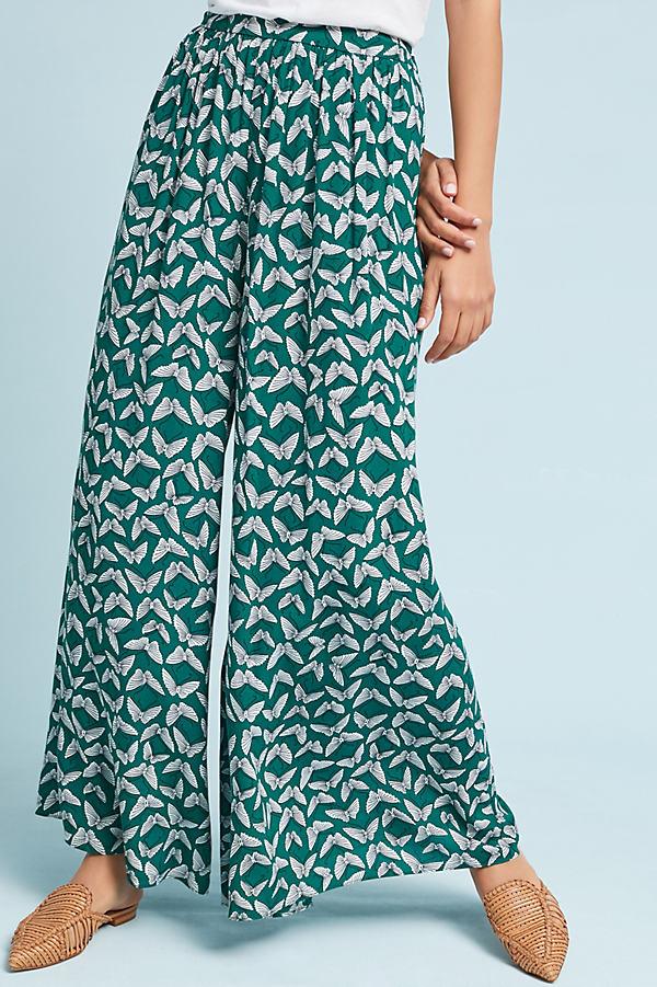 Acker Wide-Leg Pants - Green Motif, Size S