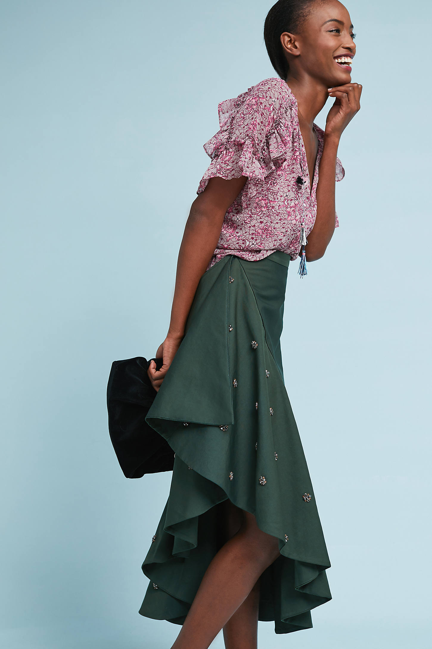 Ruffled Midi Skirt