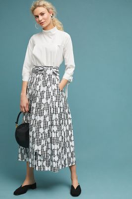 Whit Gingham Midi Skirt by Whit