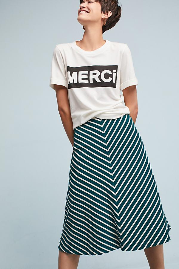 Zali Striped Midi Skirt - Green Motif, Size M