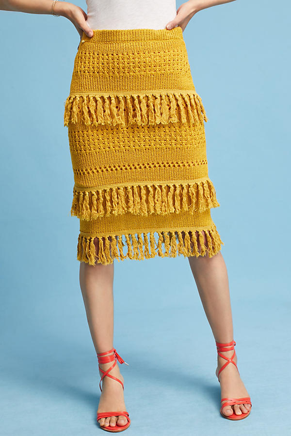 Slide View: 2: Enza Tiered Fringe Pencil Skirt, Yellow