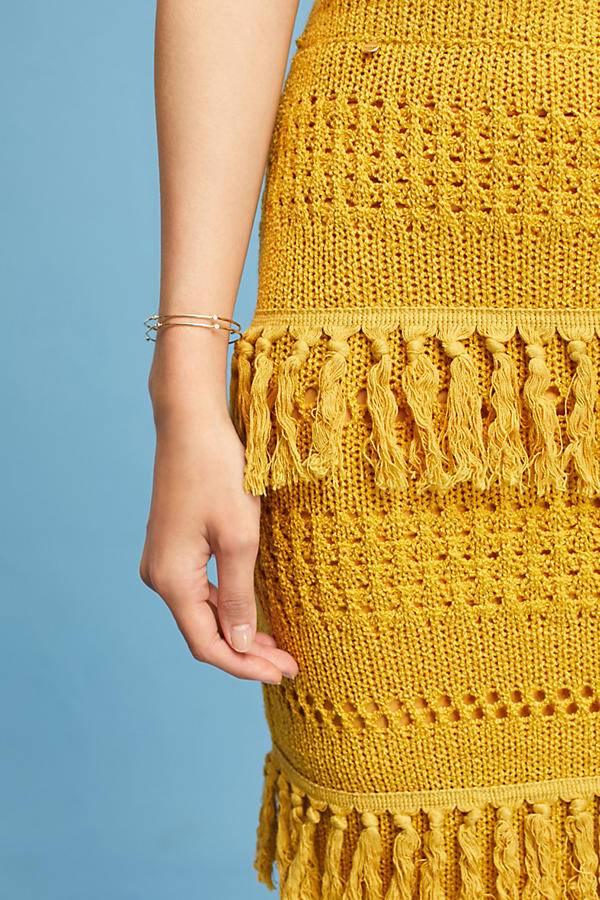 Slide View: 3: Enza Tiered Fringe Pencil Skirt, Yellow