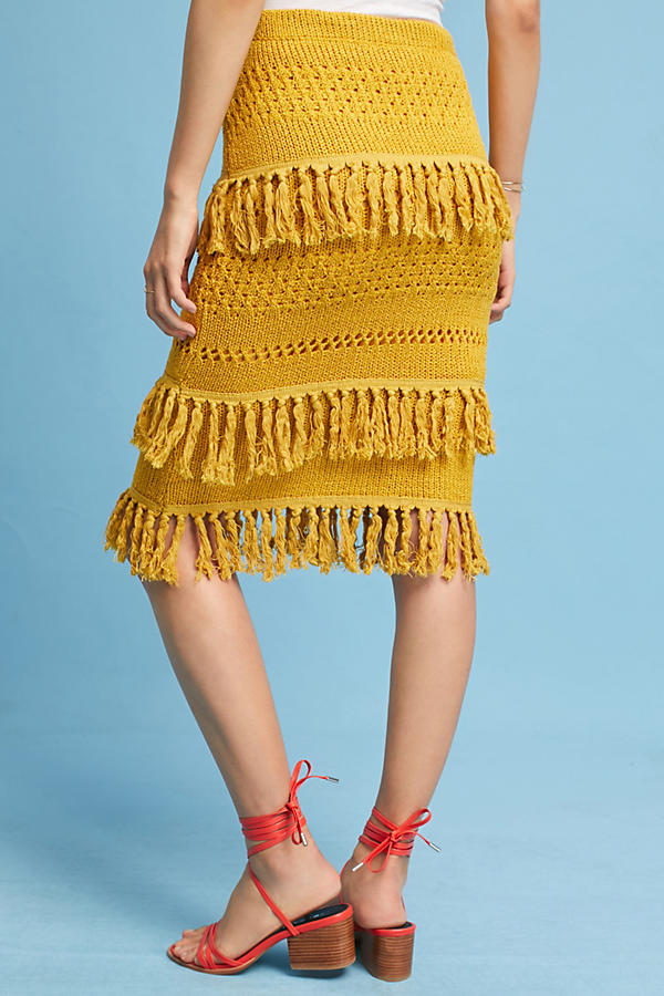 Slide View: 4: Enza Tiered Fringe Pencil Skirt, Yellow