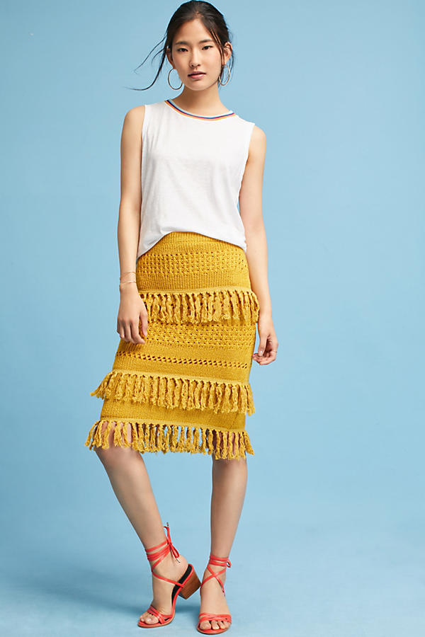 Slide View: 1: Enza Tiered Fringe Pencil Skirt, Yellow