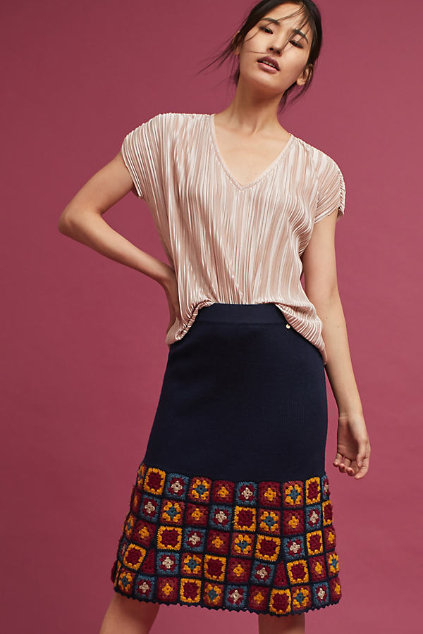 Dahlia Knit Skirt, Navy - Navy, Size Xs