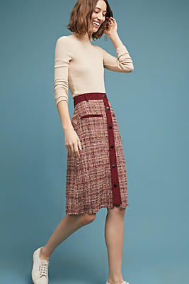 Slide View: 1: Tweed Buttoned Skirt