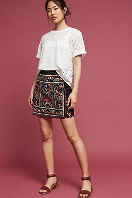 Slide View: 2: Tayla Embroidered Mini Skirt