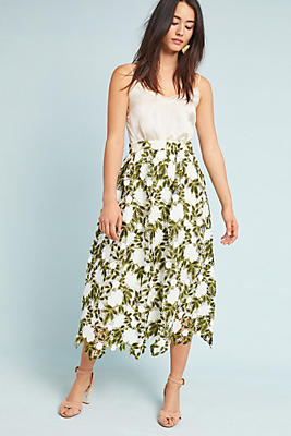 Slide View: 2: Fern Lace Midi Skirt
