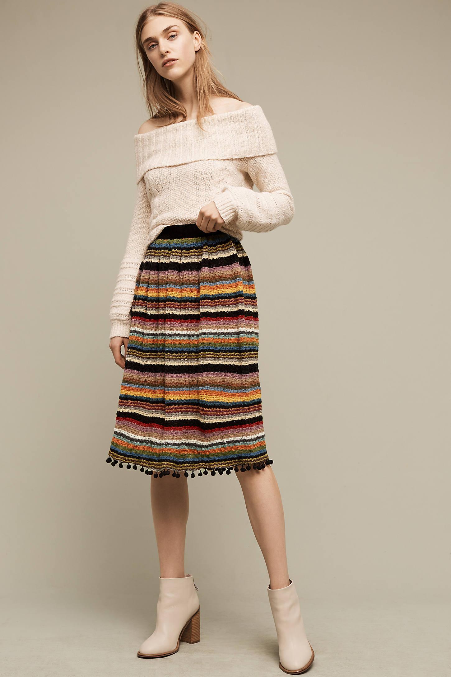 Striped & Pommed Sweater Skirt