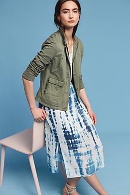 Slide View: 2: Tie-Dyed Silk Midi Skirt