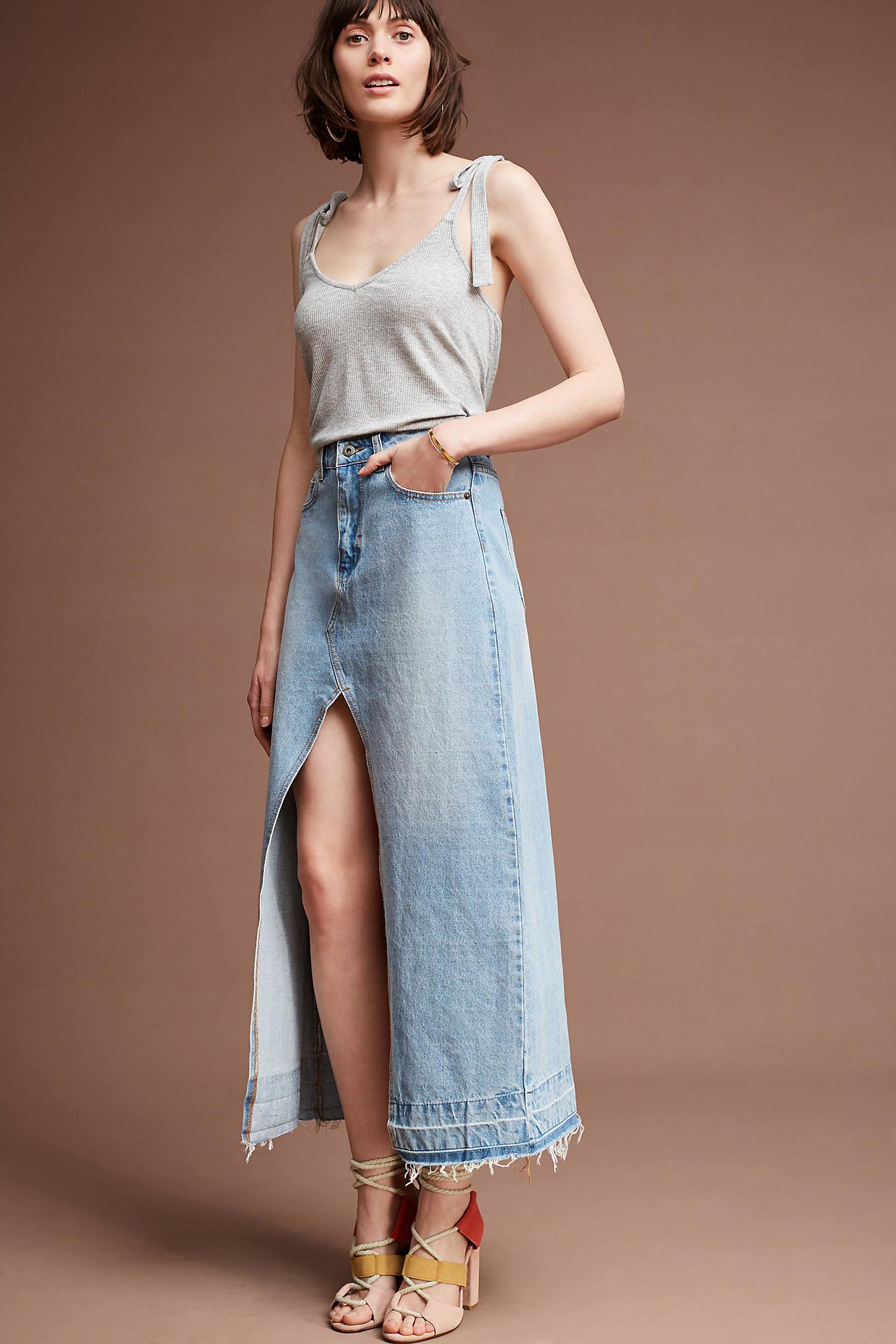 Vented Denim Skirt