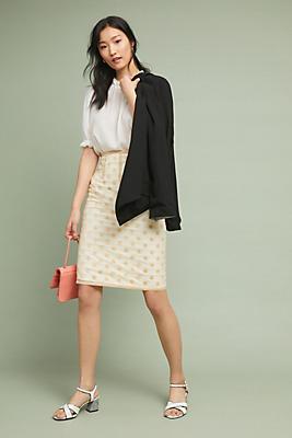 Slide View: 1: Tulle Polka Dot Pencil Skirt