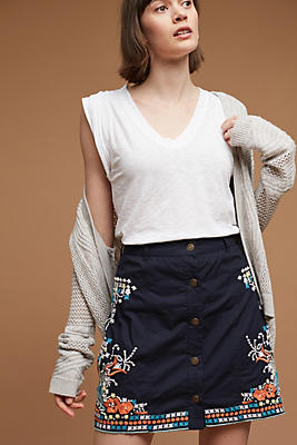 Slide View: 1: Embroidered Floral Mini Skirt