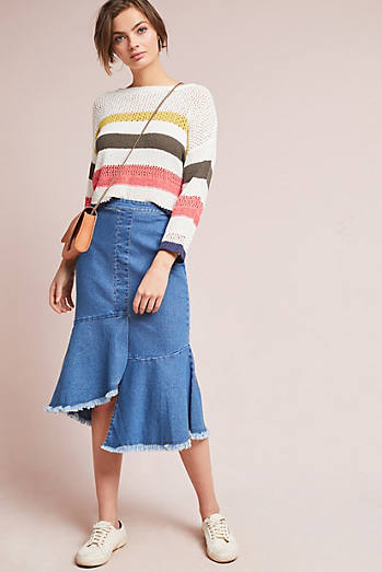 Flounced Denim Pencil Skirt
