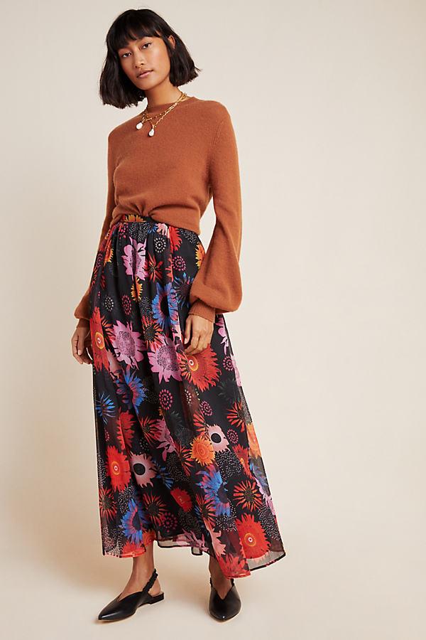 Genia Floral Maxi Skirt - Black, Size Xl