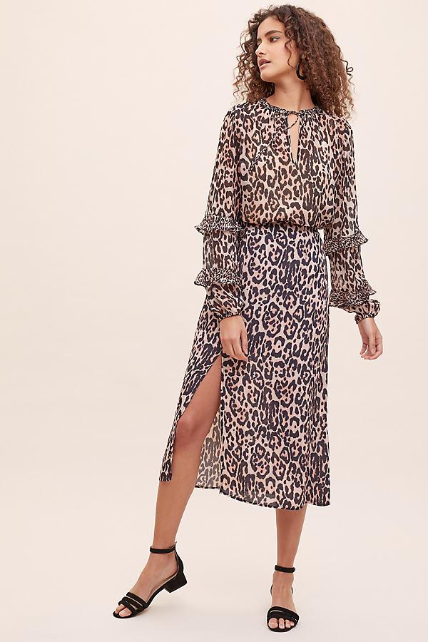 Grace Leopard-Print Midi Skirt - Assorted, Size L