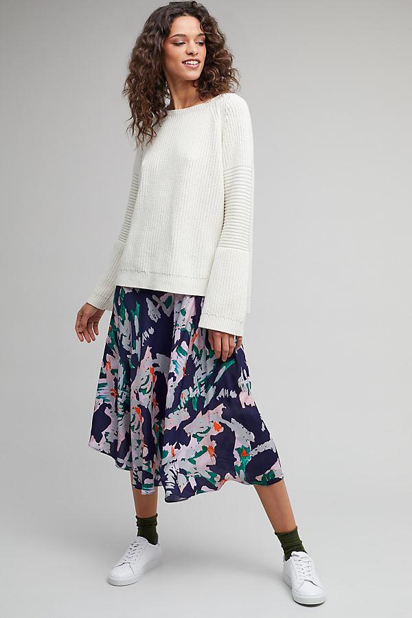 Elisabet Floral-Print Skirt - Navy, Size L