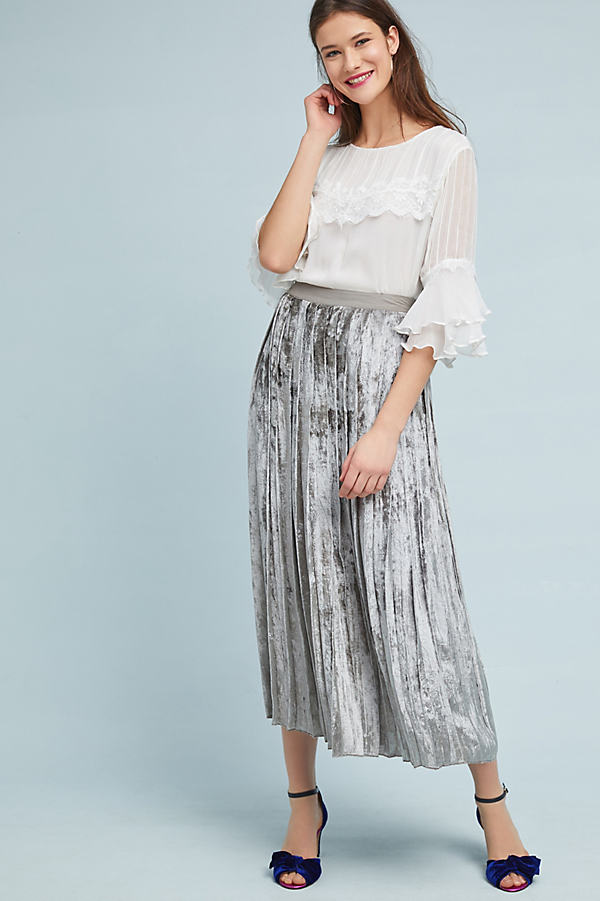 Ruthie Pleated Velvet Maxi Skirt, Silver - Silver, Size Xs