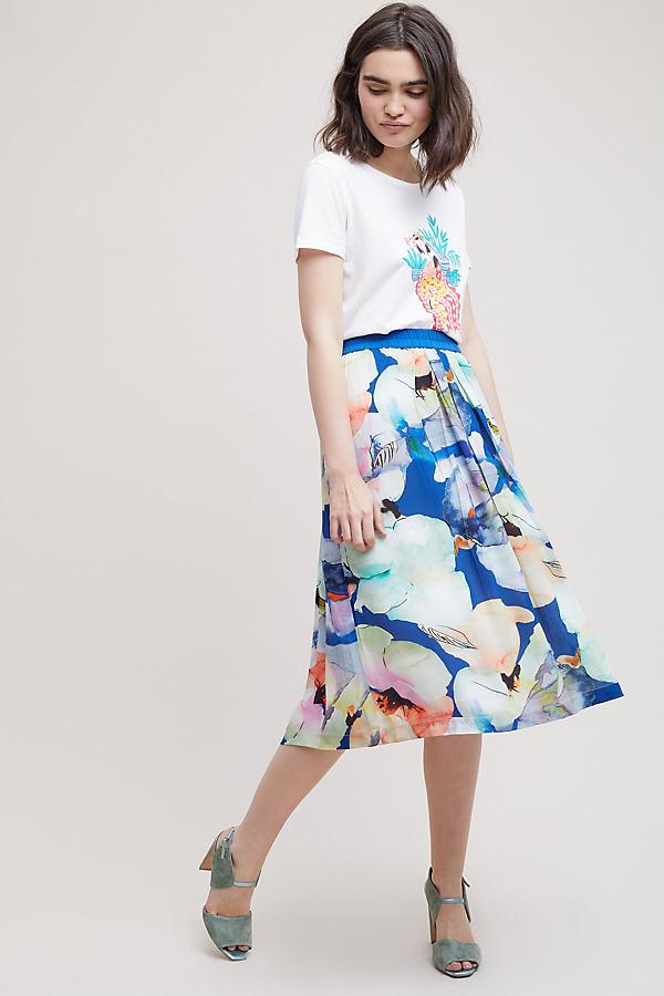 Kerstina Floral-Print Pleated Midi Skirt - Blue, Size S