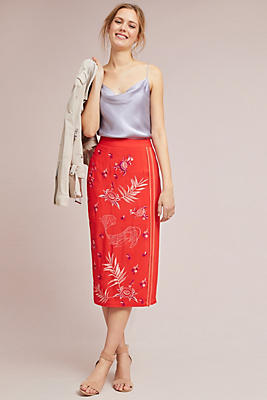 Slide View: 1: Abhinaya Embroidered Pencil Skirt