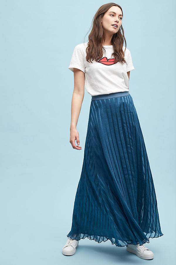 Marjorie Striped-Satin Maxi Skirt - Blue, Size Xs