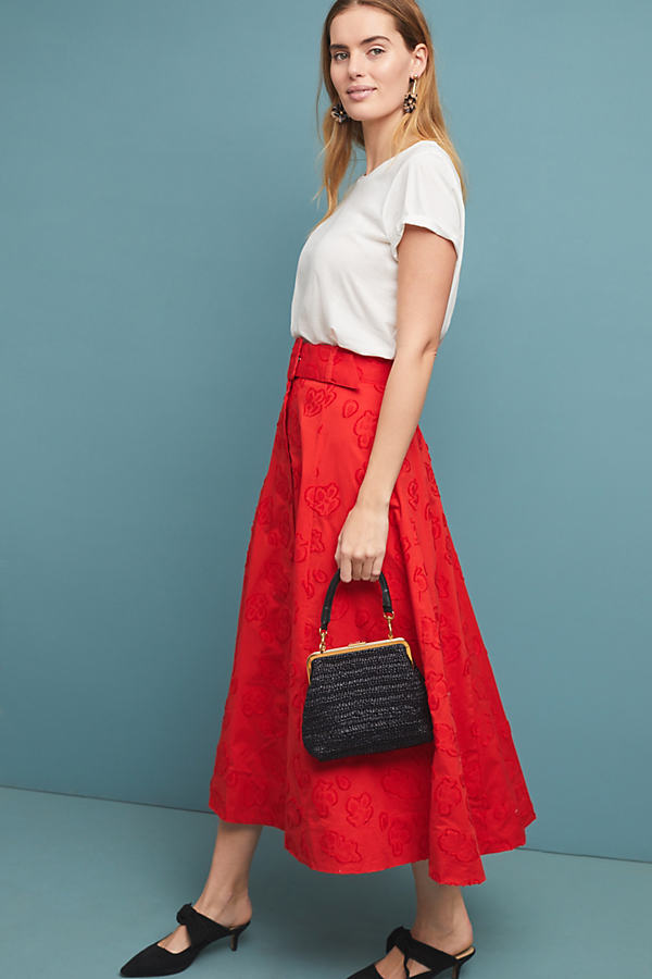 Sorayah Textured-Belted Midi Skirt - Red, Size Uk 8
