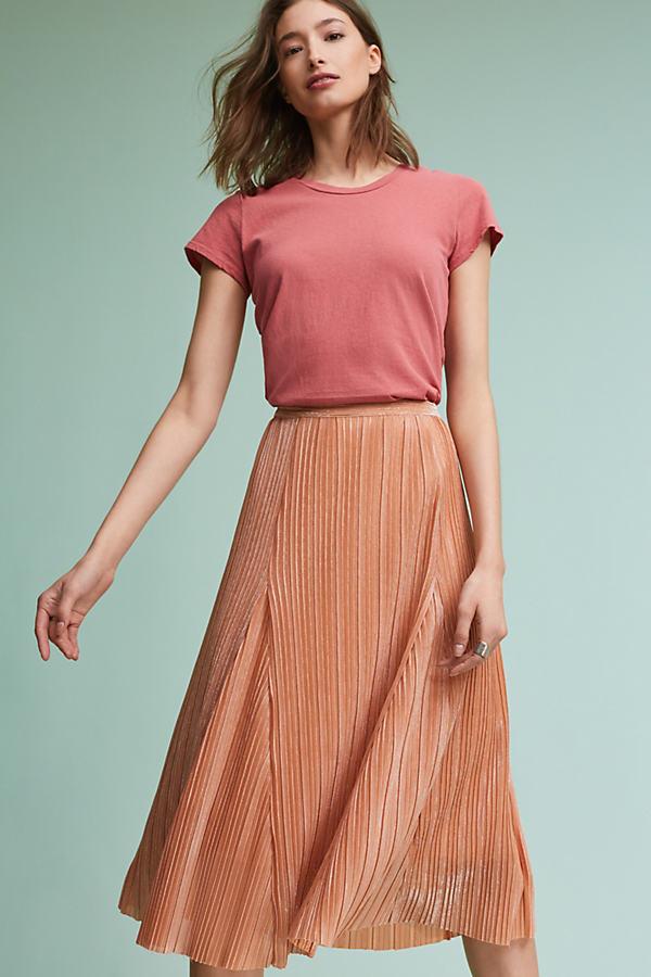 Ambra Pleated Metallic Skirt, Pink - Pink, Size L
