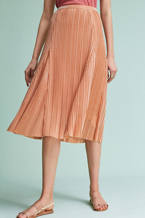 Slide View: 1: Pleated Metallic Skirt