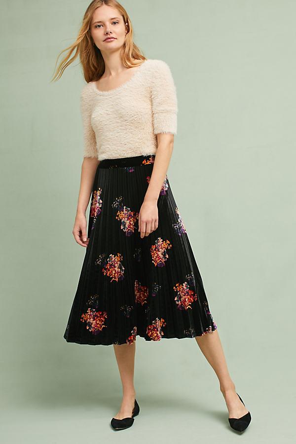 Nilla Floral Velvet Skirt - Black, Size Xs